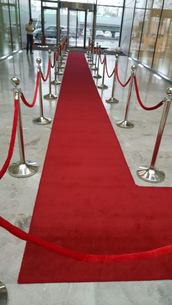 Chrome Post Stanchion and Red Carpet Hire London