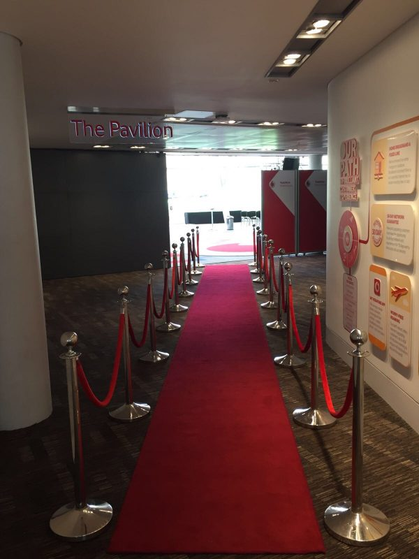 Chrome Post Stanchion, Red Rope and Red Carpet Hire London