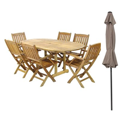 Oval Wooden Table & Chair Set with Parasol 6 Seater London