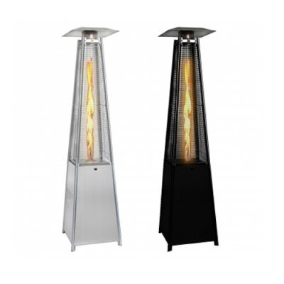 Real Flame Pyramid 13kw Patio Heater Hire in Stainless Steel or Black