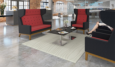 Ray Sofas Black and Red Hire London