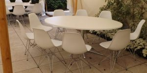 White DSR Chair and Table Hire (Eames Style) London