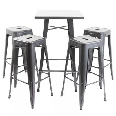Gunmetal Bistro Bar Table and Stools