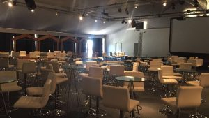 White Leather Back Bar Stool and Glass Table Hire London
