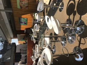 Contemporary White and Chrome Bar Stool and Glass Table Hire London
