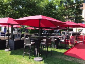 Rattan bar stool, table and chair Hire London