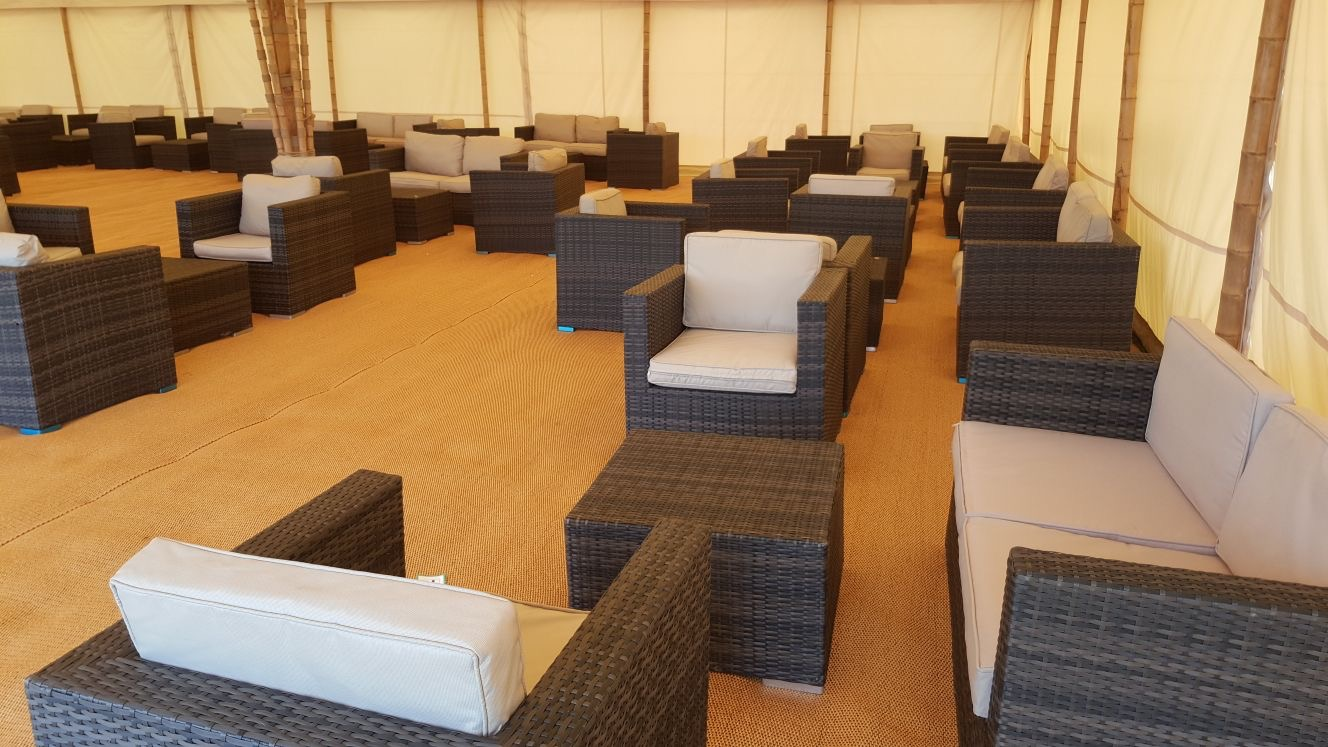 Outdoor Rattan sofa set hire London