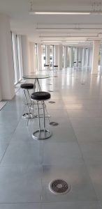 Black chrome and glass stool and table hire London