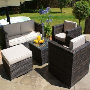 Rattan Sofa Set with Stool London
