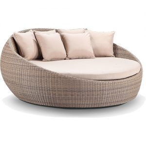 Round Rattan Daybed Hire London