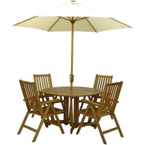 Wooden Table & Chair Set with Parasol London