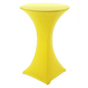 Yellow Covered Poseur Table Hire London