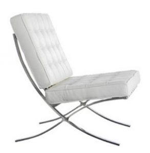 White Leather Barcelona Chair Hire