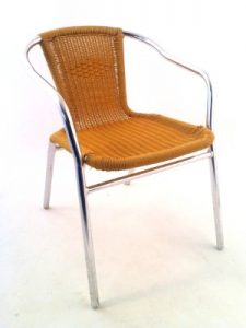 Aluminium Sand Rattan Cafe Chair Hire