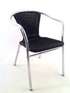 Aluminium Black Rattan Cafe Chair Hire London
