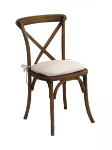 Rustic Cross Back Wooden Chair With Cushion Hire London